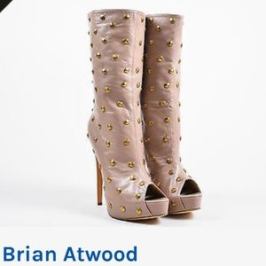 Brian Atwood Temptress Nude Peep Toe Boot S 37